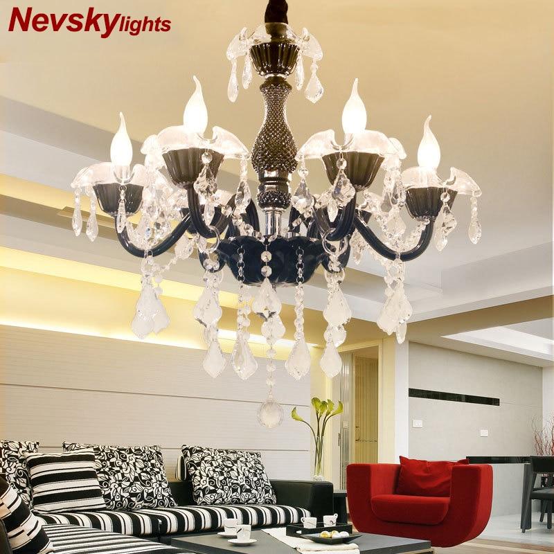 Cristal LED moderne lustres noirs lampadario caméra da letto chambre salon hôtel lustres plafond lampadario