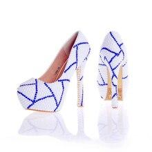 2017 neues Design Nach Maß Weiße Farbe Braut Hochzeit Schuhe mit Blau Strass Prom Pumpen Jahrestagsfeier Party Schuhe
