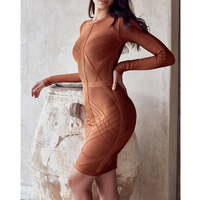 2017 New Winter Long Sleeve Dress Fashion Celebrity Party O Neck Sexy Night Out Bandage Dress