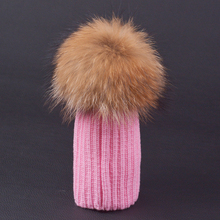 New Winter Warm Children Pompon Beanies Hats for Girls and Boys 6 Colors Blend Wool of Kids Caps with Real Fur Pom Pom