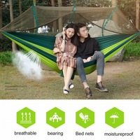 Large Nylon Outdoor Hammock Parachute Cloth Fabric Portable Camping Hammock With Mosquito Nets 260cm 130cm Drop