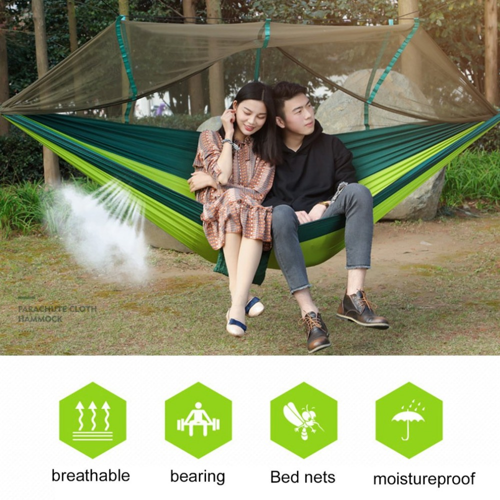 Large Nylon Outdoor Hammock Parachute Cloth Fabric Portable Camping Hammock With Mosquito Nets 260cm*130cm Drop Shipping portable outdoor traveling camping parachute nylon fabric sleeping bed hammock