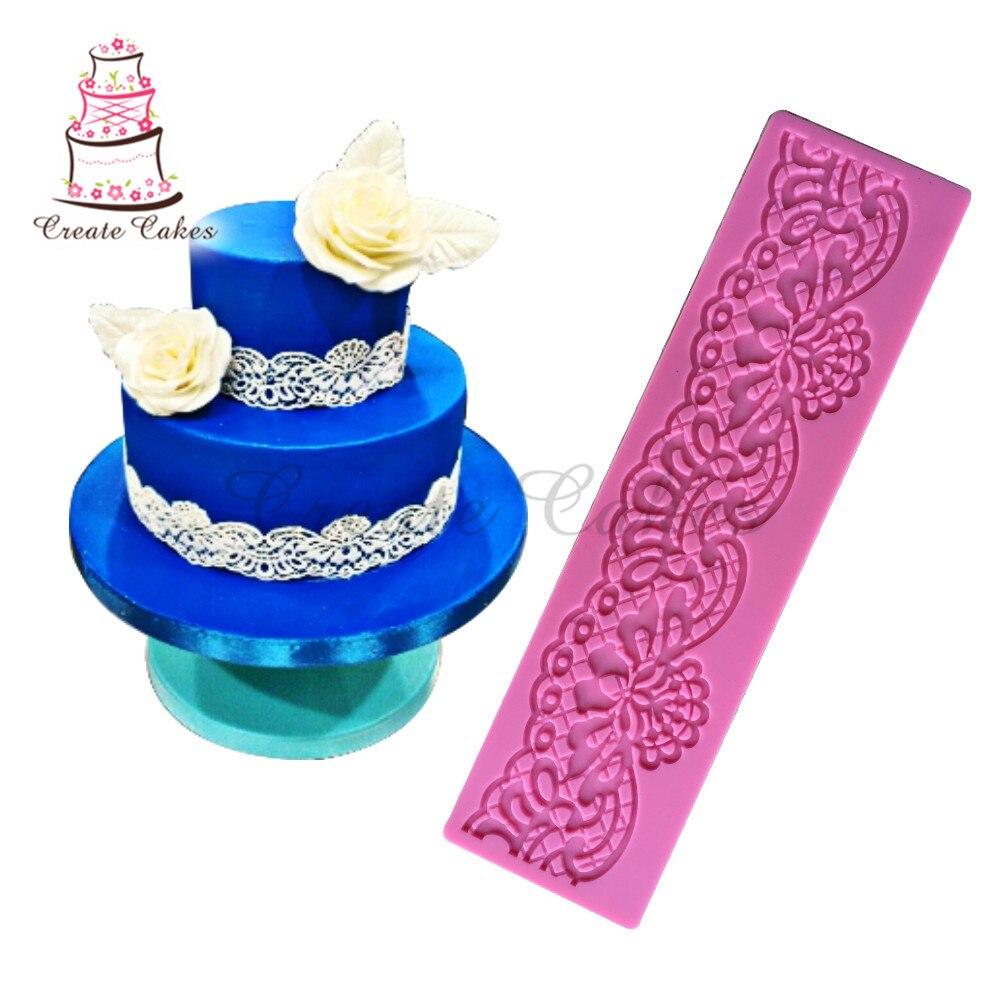 Tapete de renda em forma de flor, borda de decoração de silicone, forma de flor, açúcar, almofada de renda, ferramentas de decoração de bolo