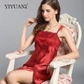 100% Natural Silk Nightdress Female Lace Embroidery Nightgowns Summer Sleeveless Silk Satin Women Sleepwear D33112