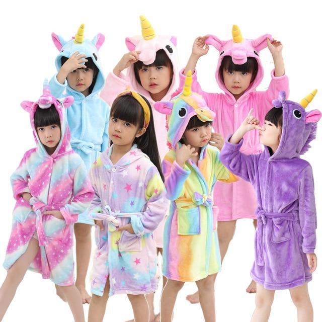 c812c45eb Cartoon Baby Bathrobe For Girls Pajamas Kids Rainbow Unicorn Animal ...