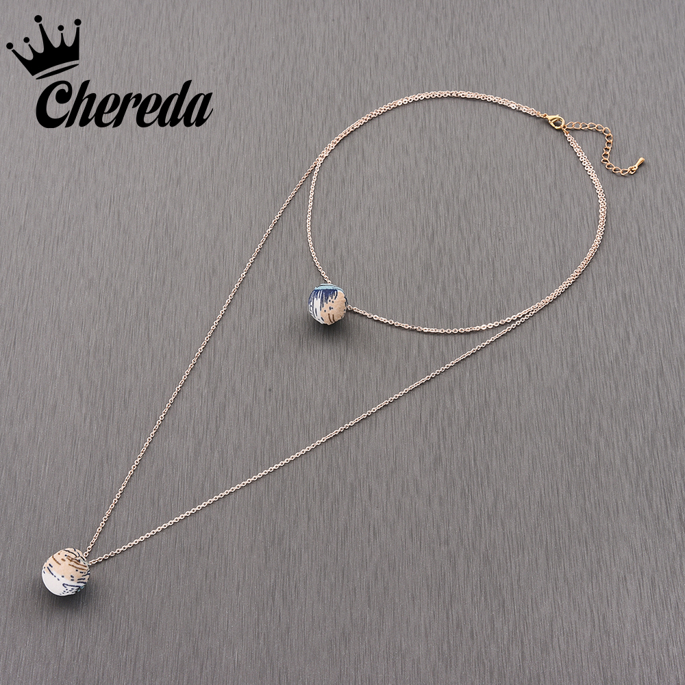 a091ba346 Chereda Unique Round Colorful Multi Layer Choker Necklace Gold Color  Pendants For Women Long Chain Necklaces