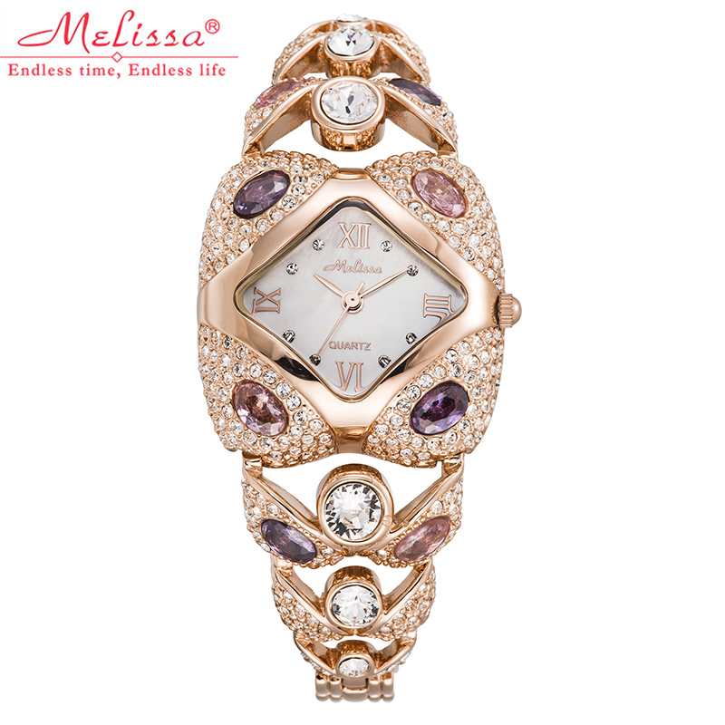 ФОТО Top Luxury Melissa Lady Women's Wrist watch Elegant Rhinestone CZ Fashion Hours Dress Bracelet Crystal School Girl Birthday Gift