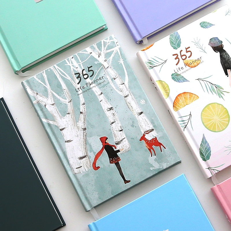 Season 365 Any Year Planner Monthly Daily Plan Agenda Cute Diary Notebook Study Journal girly notebook stationery suit clips pens daily plan agenda sticky notes great value planner organizer set cute journals series
