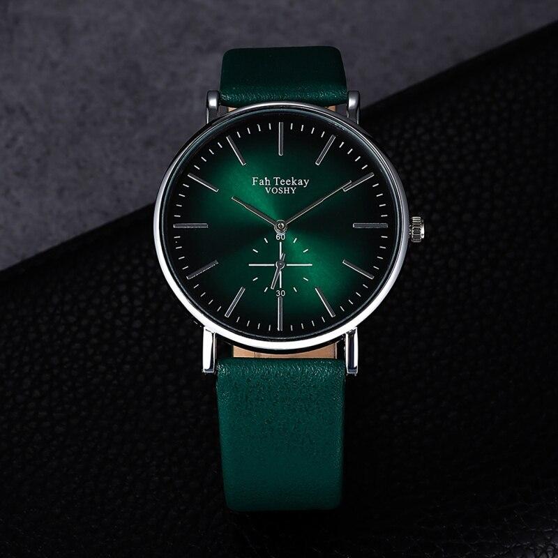 Luxury Women Watches Fashion Purple Green Shining Quartz Watch Simple Casual PU Leather Ladies Wrist Watch Female Girl Clock