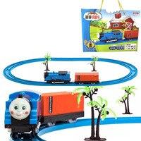 Thomas Kolejka Zabawki Elektryczne Kolejowym Samochód Zestaw Chłopiec Samochód Puzzle Prezent z Dźwiękiem i Światłem