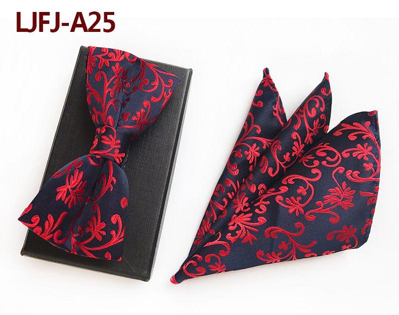 Мужской модный галстук набор полиэфирных шелковых галстуков наборы из двух частей жаккардовые галстуки для мужчин галстук носовой платок галстук-бабочка - Цвет: LJFJ-A25