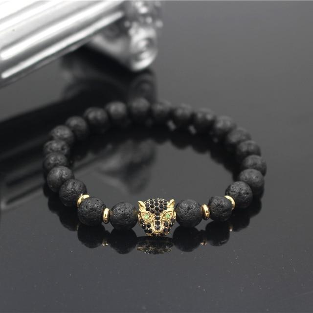 Pun Design Men S Luxury Lava Stone Bead Bracelet Vintage Micro Cz Leopard Head Charm Women Elastic
