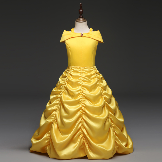 153bd5c3d43c Fantastic Princess Cosplay Beauty And The Beast Yellow Ball Halloween Prom  Gown Role Play Belle Costume