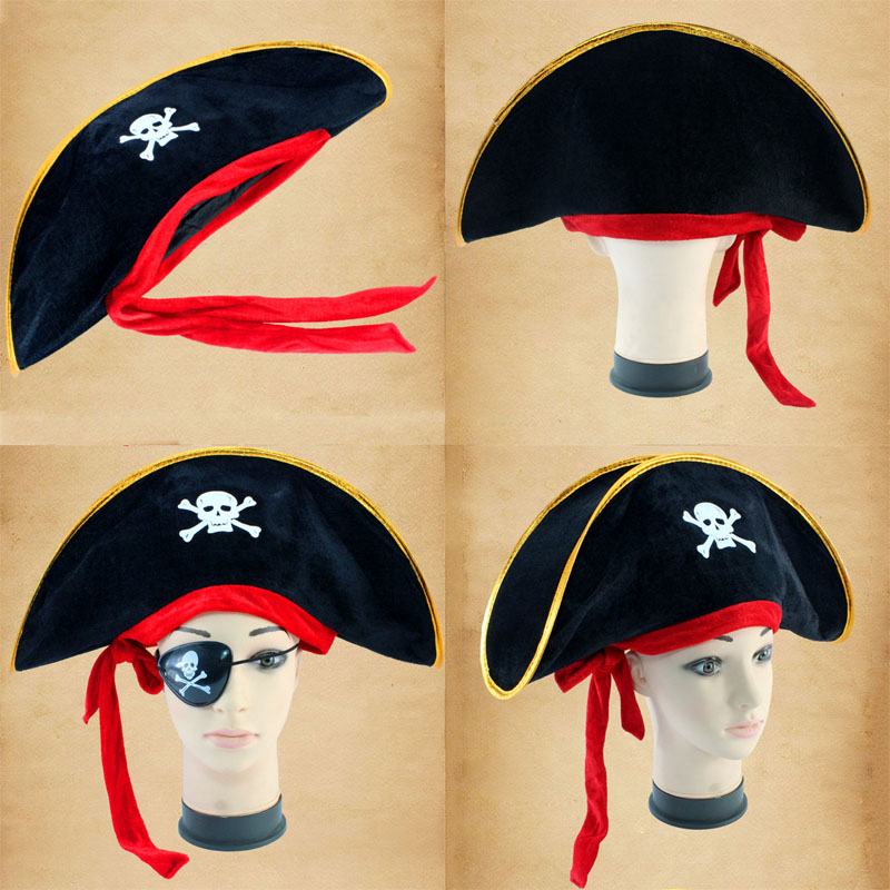 Caribbean Pirate Hats Halloween Accessories Skull Hat Cosplay Costume Piracy Hats Corsair Cap Party Props Theater Toy