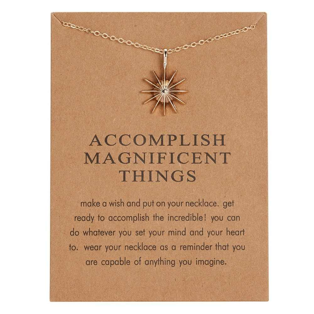 Fashion Gold Color Pendant Necklace Accomplish Magnificent Things Sun Light Alloy Pendant Choker Necklace Jewelry For Women