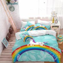 цена Kids Cartoon Unicorn Bedding Set Colorful Rainbow Print Duvet Cover Set Light Color Flowers Print Bed Cover Blue Bedclothes 3Pcs в интернет-магазинах