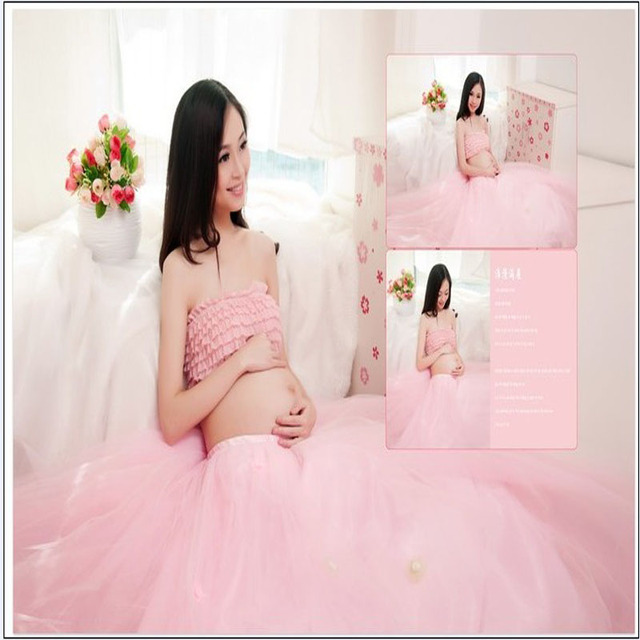 New women maternity Photography Clothing pink bra+voile skirt photo shoot prop Pregnancy Gown Sets Dresses For Pregnant Women