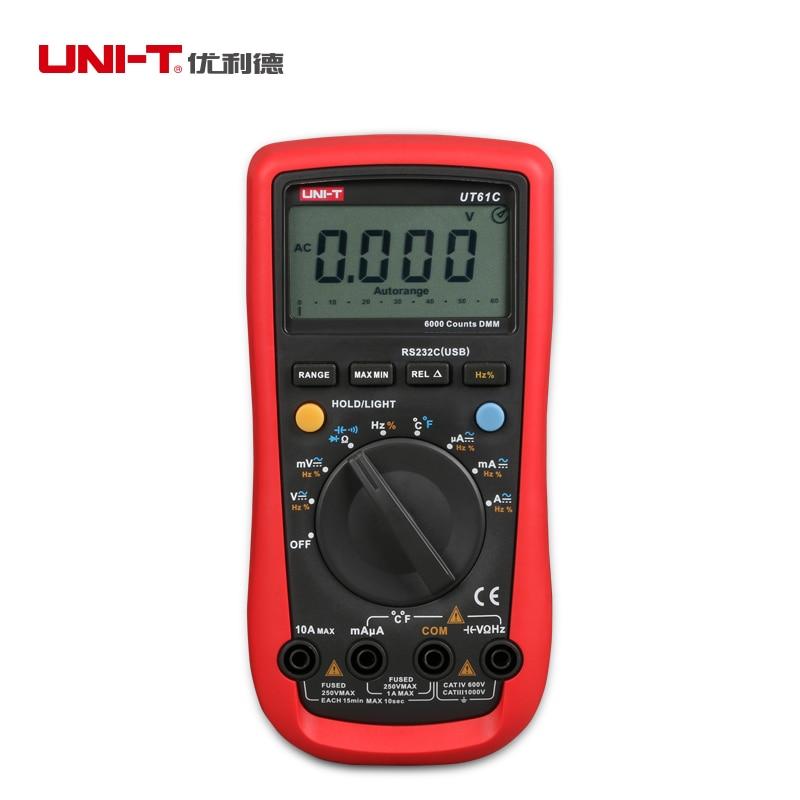 UNI-T UT61C Modern Digital Multimeters Auto Range Multi-functional Testers AC DC Voltage Current Meter C F Thermometer 4 8 days arrival uni t ut582 digital rcd elcb testers meter auto ramp leakage circuit breaker
