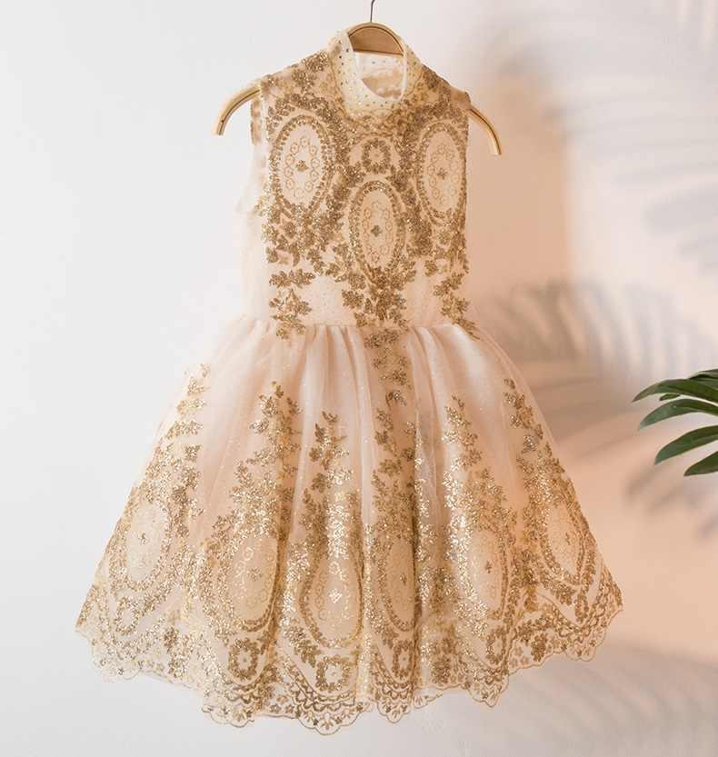 3408 Vestido De Fiesta De Princesa Con Bordado Dorado Para Niñas Vestidos De Tutú Para Niñas Venta Al Por Mayor Ropa Para Niñas Y Bebés 3 P