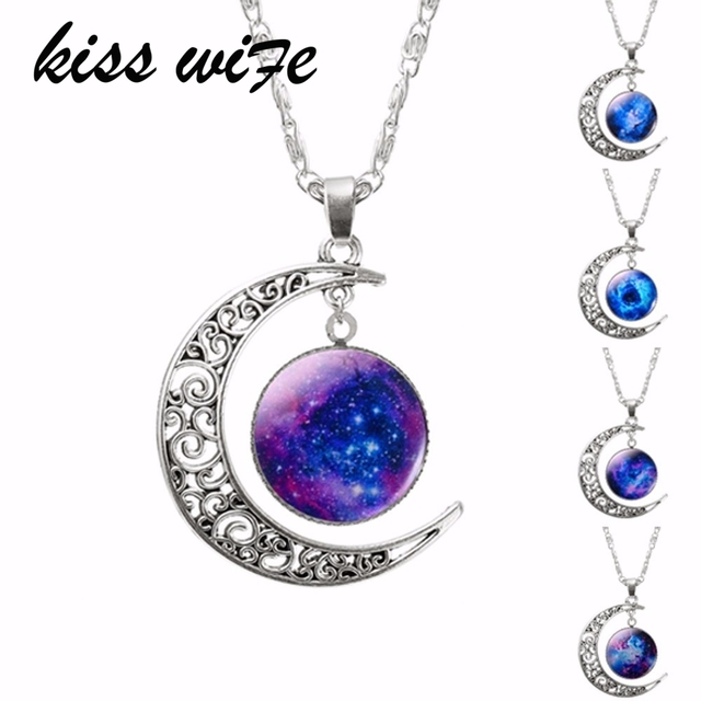 1 Pcs Hollow Moon & Glass Galaxy Statement Necklaces Silver Chain Pendants 2016