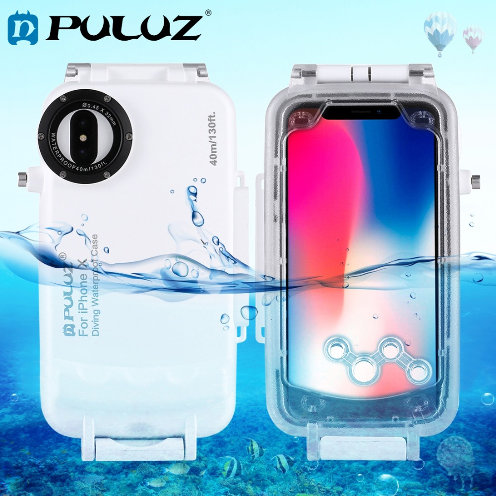 PULUZ for iPhone X Underwater Housing 40m/130ft Diving Protective Case for Surfing Swimming Snorkeling Photo Video with Lanyard mcoplus 40m 130ft ipx8 5 5 inch underwater waterproof photo housing diving protective case cover for iphone 6 plus black