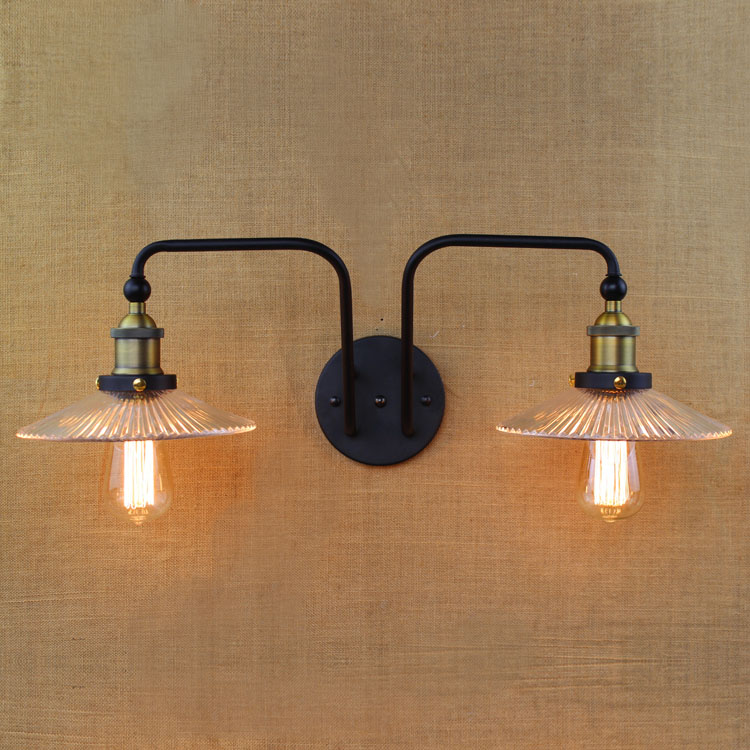 Double Swing Arm wall Lights E27 Industrial Clear Glass Lampshade Wall Sconce Iron Nordic Vintage Bar