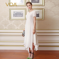 VOA Short Sleeved White Silk Dress 2016 New Summer And Autumn Decoration Body Irregular Dresses A6768