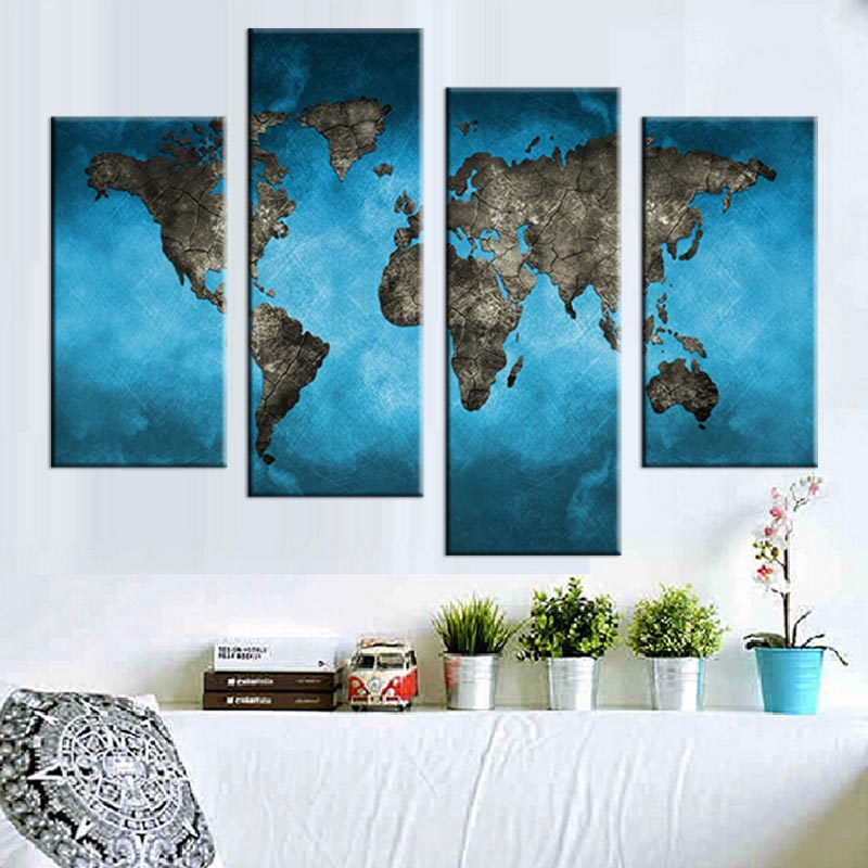 Large World Map Canvas Printings 4 Pcs Abstract Blue Map Wall Art ...