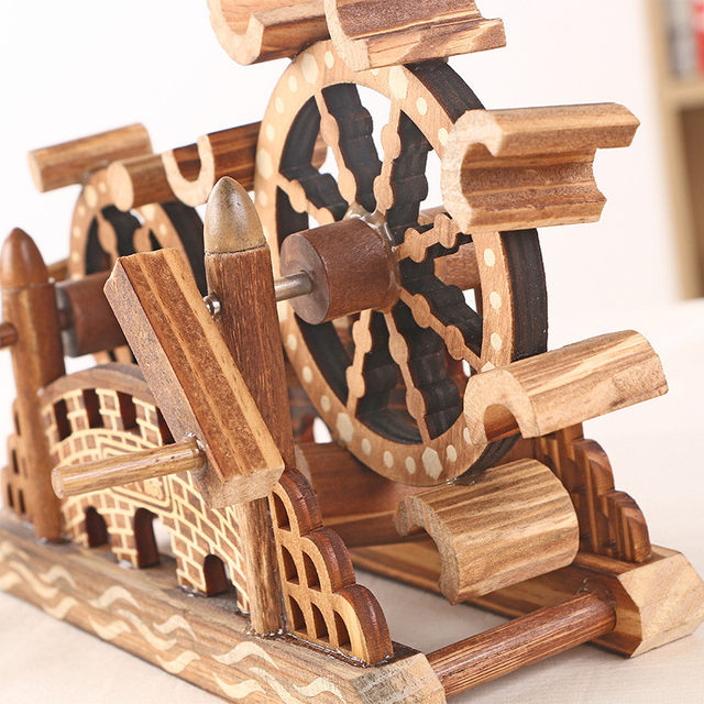 Retro Office Decor. Diy Wood Home Decor Figurines Can Rotate Waterwheel  Rotating Retro Office Decoration