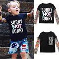 Nova Primavera Crianças do menino roupa do Bebê das meninas Dos Meninos manga tatuagem t-shirt roupas para crianças roupa dos miúdos tops moda meninos camisetas