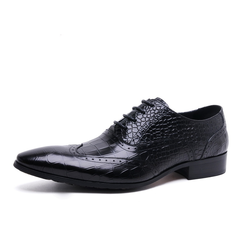 Formal Business Shoes Men Leather Breathable Lace-Up Pointed Toe Dress Shoes Men Oxford Causal Shoes Man Classic JMH-B0058 new 2018 fashion men dress shoes black cow leather pointed toe male oxfords business shoes lace up men formal shoes yj b0034