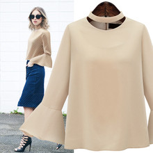 Fashion Women's Chiffon Solid Color Flare Sleeve O Neck Halter Casual Shirt Plus Size XL-5XL