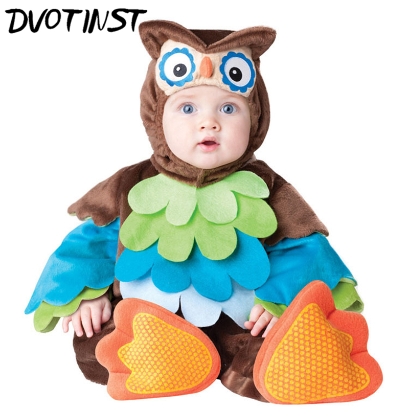 Baby Children Kids Adorable Halloween Party Cosplay Jumpsuit Hoot Owl Animals Costume Romper+Hat+Socks Infantil Toddler Clothing