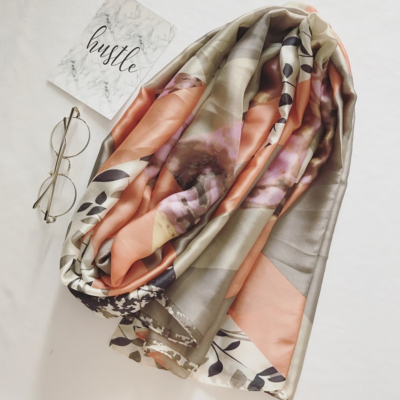 2018 silk chiffon scarf shawl flower pendant foulard soft islami hijab scarfs women floral pashmina bandana silk wraps shawls