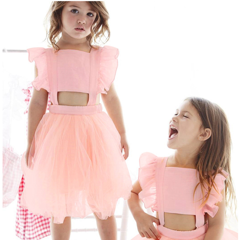 2018 New Arrival Summer Girl Dress Gir Fly - sleeve Bow - back Baby Dresses Kid Clothes Children Clothing Dress For Girls