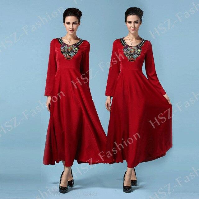 057 Горячей продажи дамы шею мусульманское платье с длинным рукавом исламская одежда турция мусульманская одежда для женщин кафтан