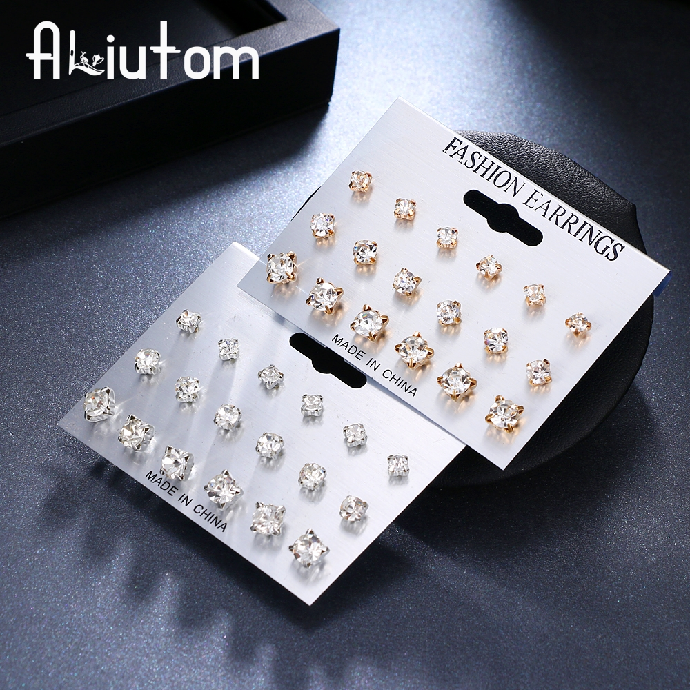 ALIUTOM 9 Pairs/set Mix Design Square Crystal Stud Earrings Piercing Gold Silver Color Fashion Earrings For Women Bijoux Jewelry