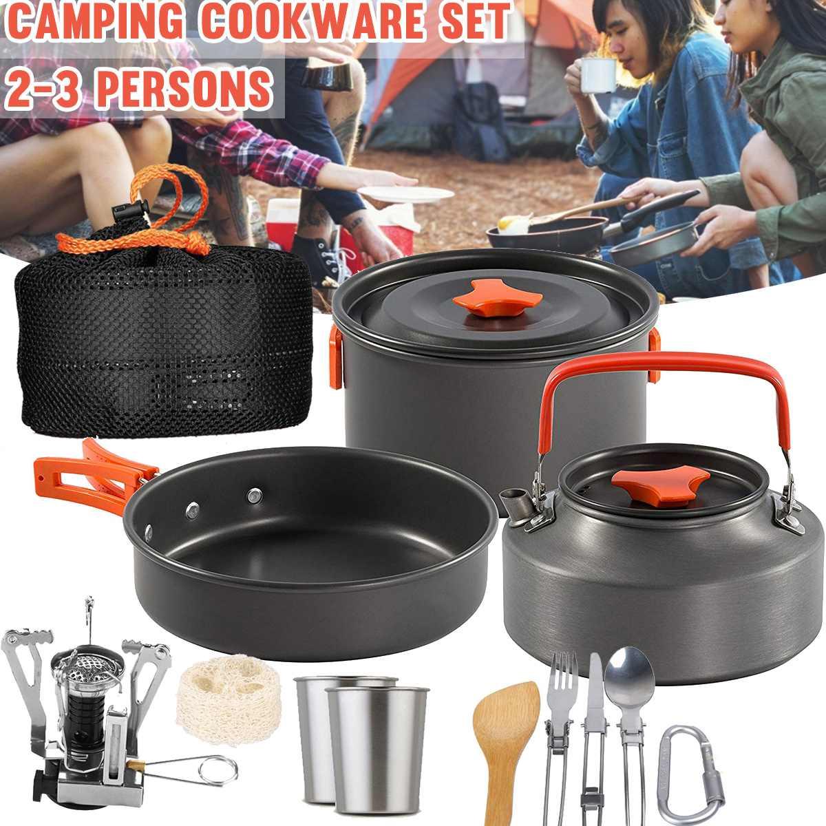 15 pièces 2-3 personnes Portable extérieur Camping batterie de cuisine ensemble Portable ustensiles bol Pot cuillère vaisselle cuisine voyage pique-nique ensemble