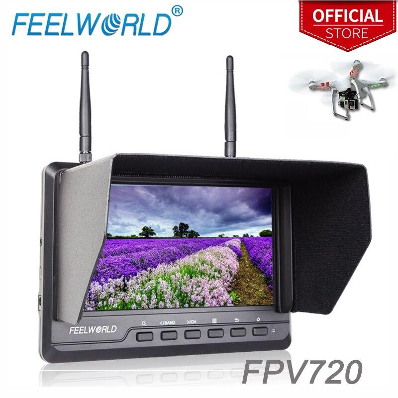 Feelworld 7 pouce 1024x600 IPS Ultra-mince FPV Moniteur pour Drone avec Batterie Intégrée Double 5.8g 40CH Diversité Récepteur FPV720