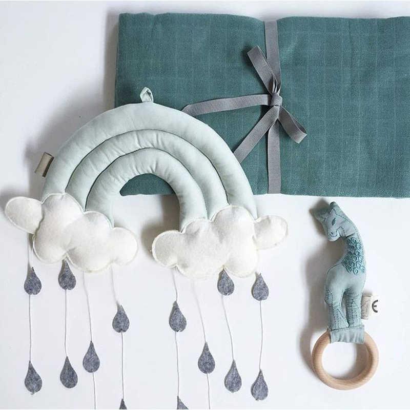 Bebê decoração do quarto berço pára-choques para o bebê recém-nascido chuva nuvens design ins infantil tenda parede pendurado fotografia pára-choques decoração