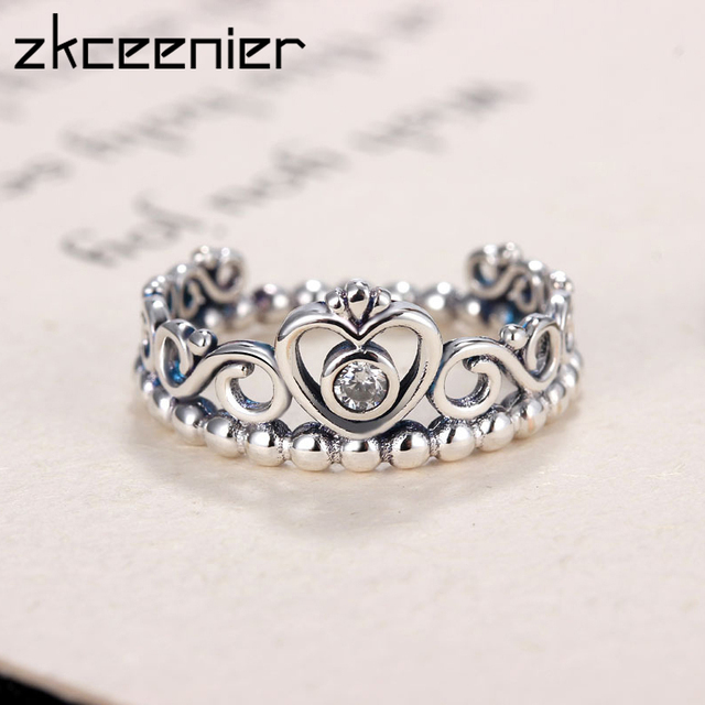 a37921d9f Fashion Plated Silver Color My Princess Queen Crown Pandora Ring Clear CZ  Women Engagement Rings Jewelry Gift Wholesale