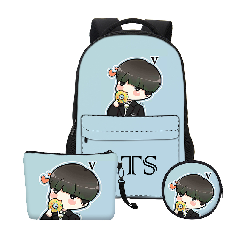 VEEVANV Fashion Gils Bookbag Children Backpacks Boys Shoulder Bags School Bags Set Women BTS Cartoon Organizer Printing Notebook
