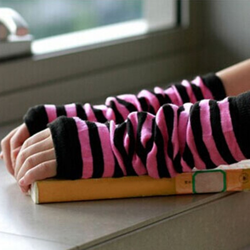 Sexy Women Knit Long Arm Warmers Sleeves Winter Fingerless Gloves Striped Gloves