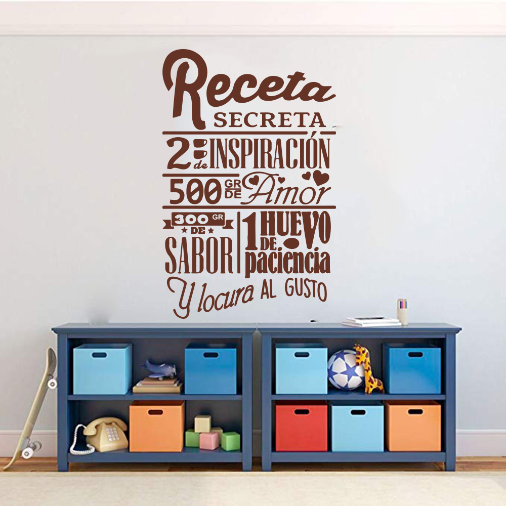 Large Recipe Secrete Spanish Quote Wall Sticker Kitchen Dinning Room Cuisine Cook Recipe Chef Wall Decal Tile Kitchen Vinyl (3)