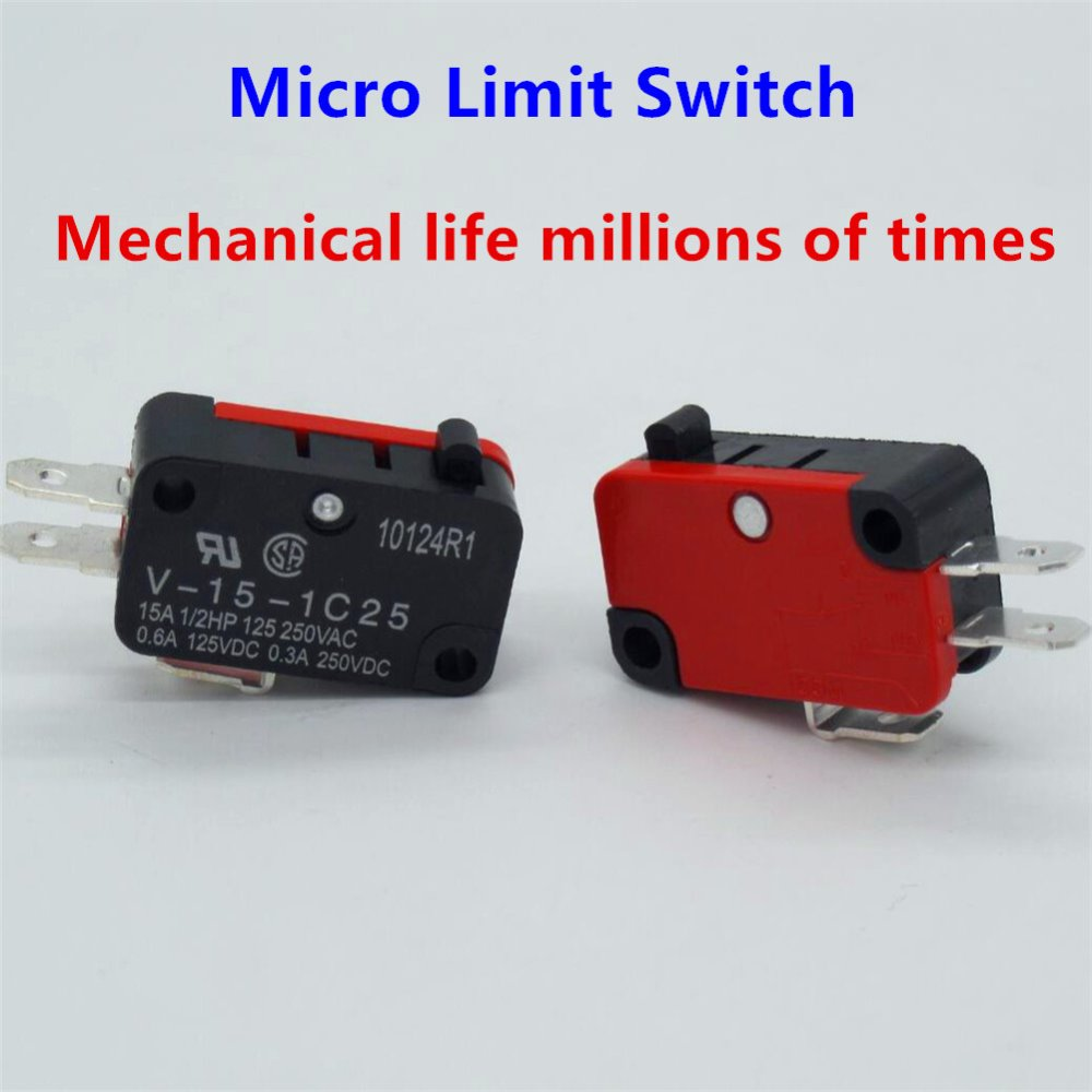 10 Pcs / Lot 250V 16A Microwave Oven Door Arcade Cherry Push Button SPDT 1 NO 1 NC Micro Switch V-15-1C25(China)
