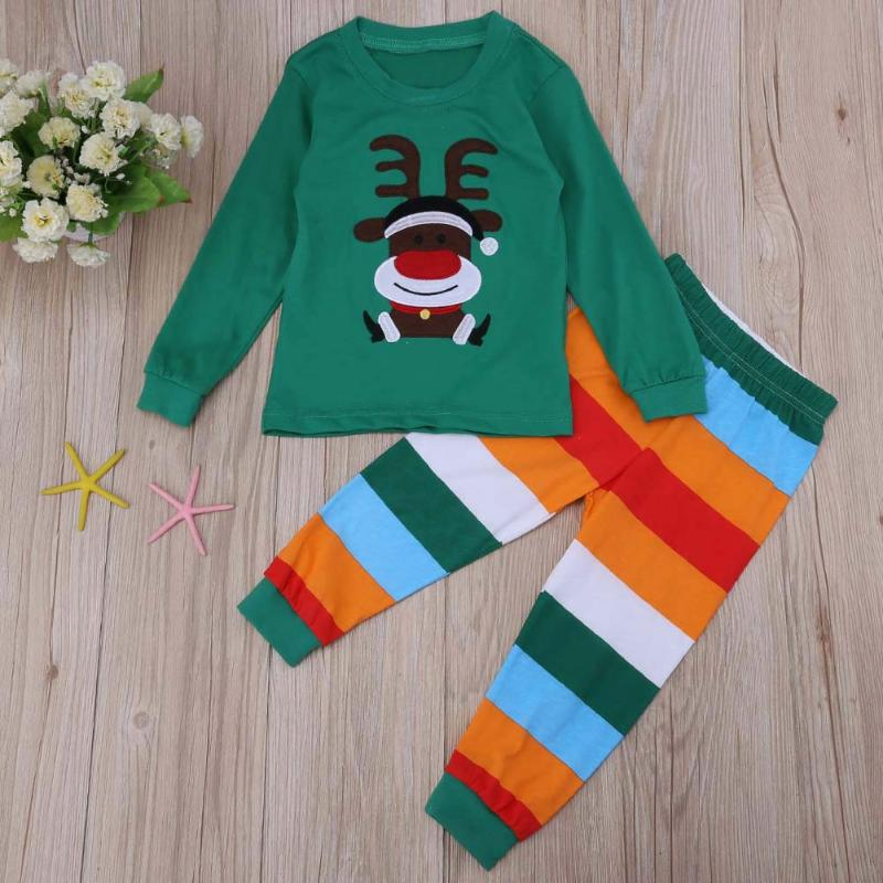 2pcs/set Christmas Kids Boy Girl Clothes Set Cute Santa Reindeer Long Sleeve T-shirt+Pants Winter Children Outfits Costumes Set