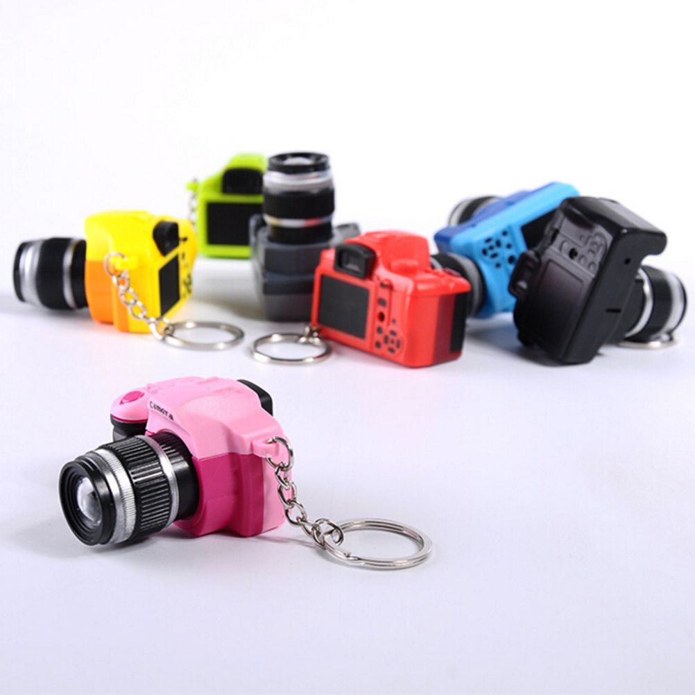 LED Luminous Sound Glowing Pendant Keychain Bag Accessories Plastic Toy Camera Car Key Chains Kids Digital SLR Camera Toy