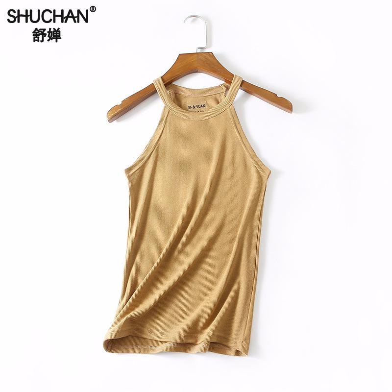 Buy SHUCHAN Sexy Tank Cami Tops Halter 2018 Fashion Womens Summer Vest Tops Sleeveless Shirt Blouse Casual Tank Tops Shirt 830