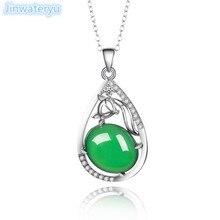 Модные ювелирные изделия, зеленое ожерелье из халцедона, подвески из стерлингового серебра 925 пробы, маленький кулон с лисичкой, зеленый камень, животное, милый кулон