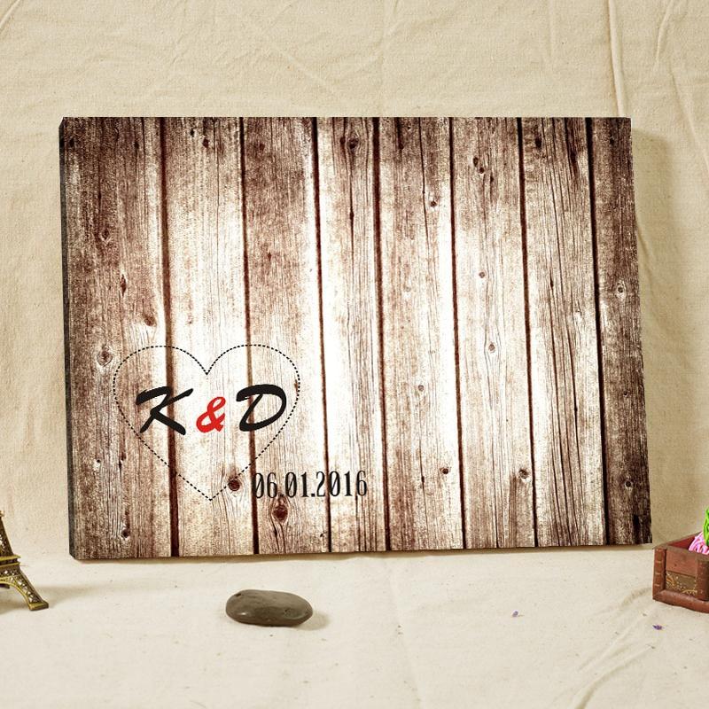 Texto personalizado Firma Libro de visitas Marco de madera Impresión - Para fiestas y celebraciones - foto 1